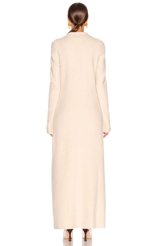 Image 3 of Jil Sander Deep V Long Sleeve Dress in Pearl