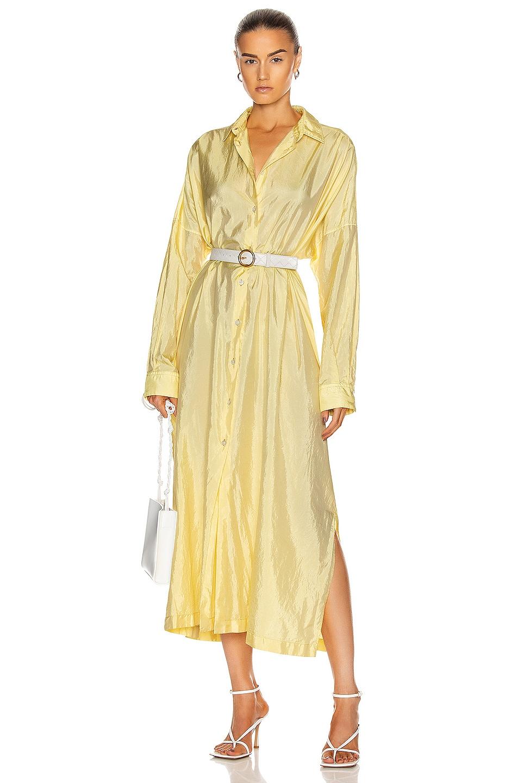 Image 1 of Jil Sander Packaway Shirt Dress in Light Pastel Yellow
