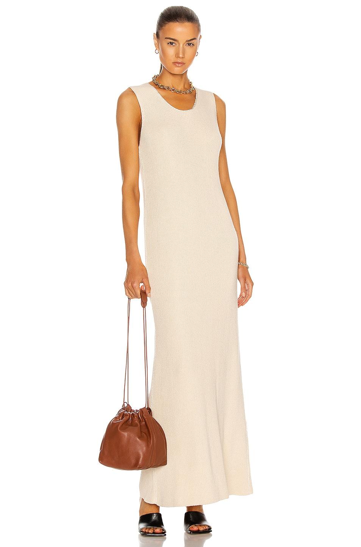 Image 1 of Jil Sander Sleeveless Ribbed Dress in Antique White