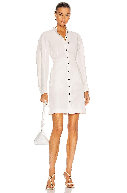 Image 1 of Jil Sander Long Sleeve Button Dress in Ivory