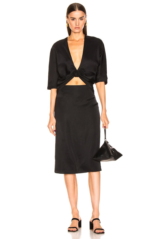 Image 1 of Jil Sander V Neck Cutout Dress in Black