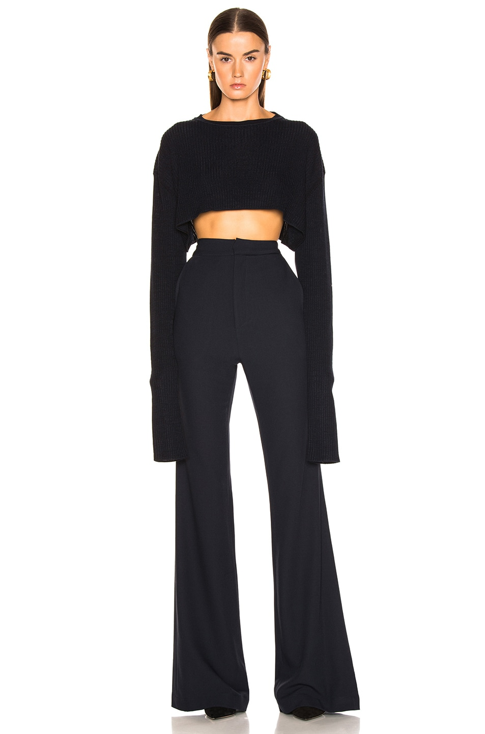 Image 2 of Jil Sander Cropped Sweater in Dark Blue