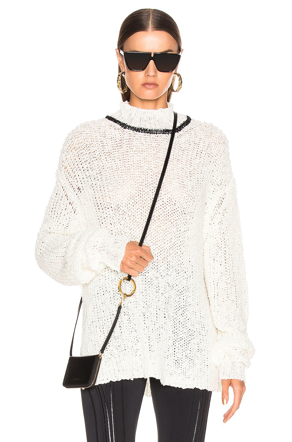 Image 1 of Jil Sander Mock Neck Sweater in White