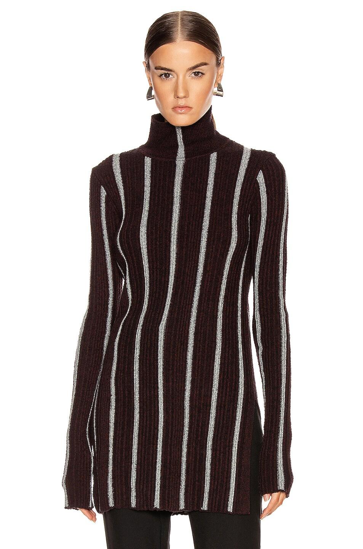 Image 1 of Jil Sander High Neck Long Sleeve Sweater in Stripe