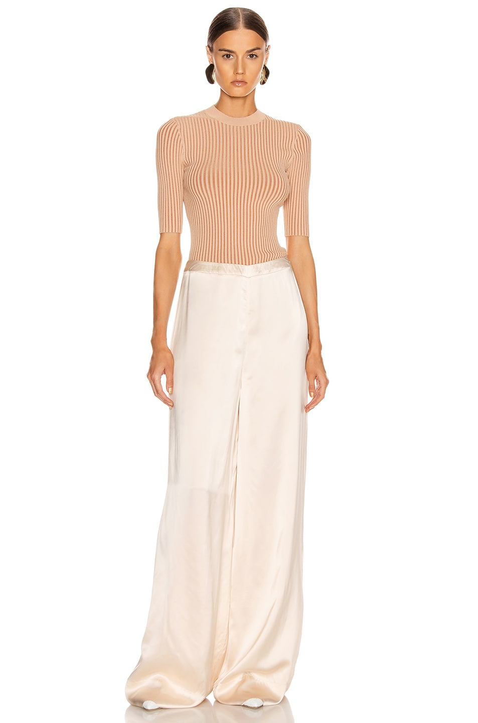 Image 4 of Jil Sander High Waisted Palazzo Pant in Rose