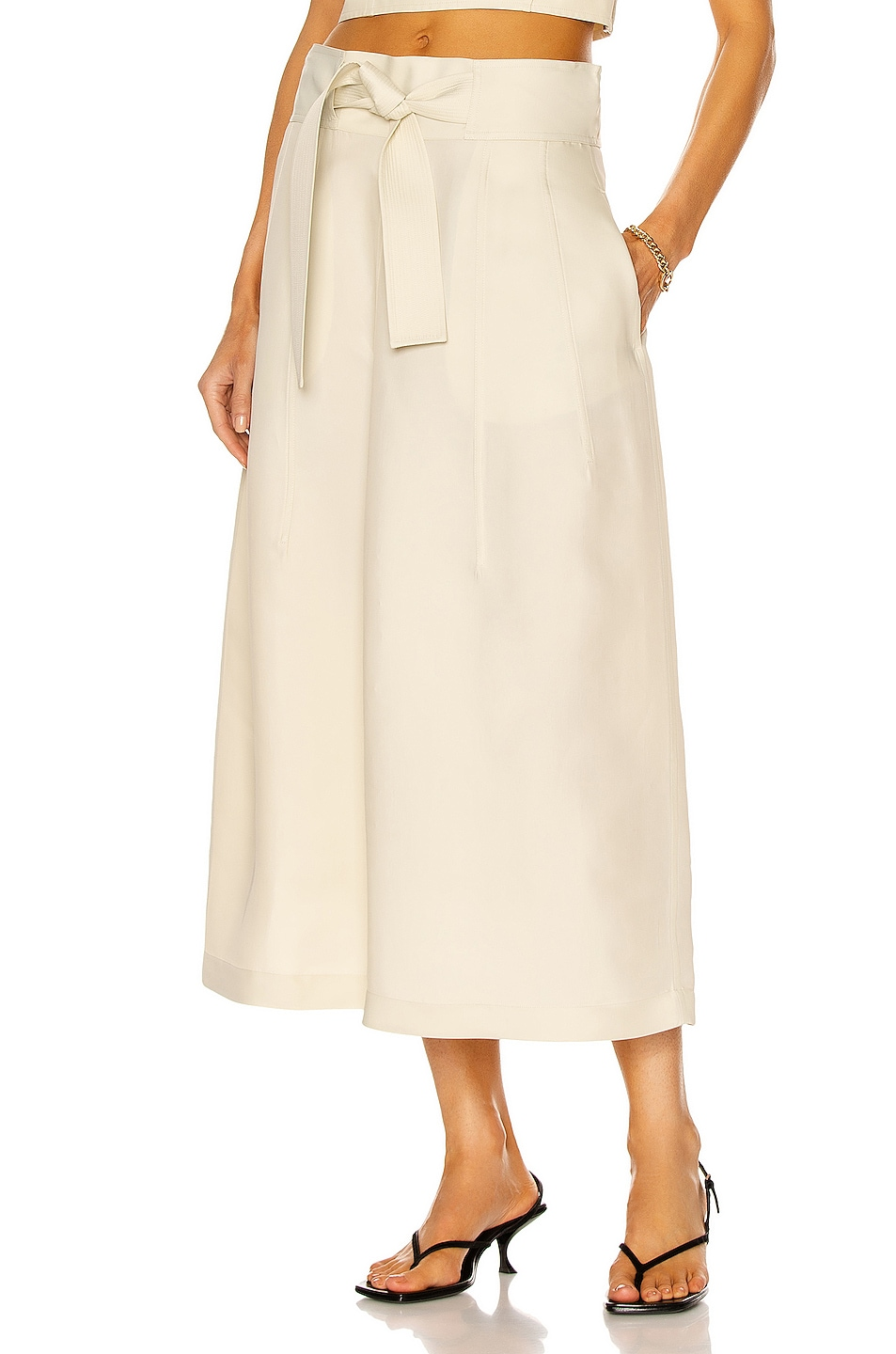 Image 1 of Jil Sander Tie Skirt in Open White