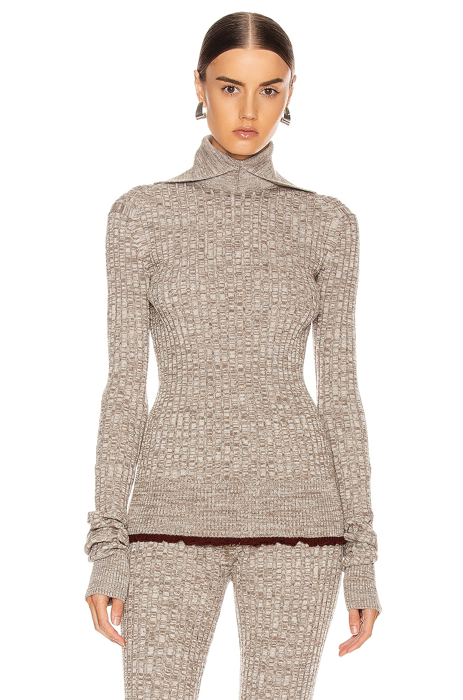 Image 1 of Jil Sander Long Sleeve Sweater Top in Open Beige
