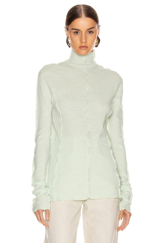 Image 2 of Jil Sander High Neck Long Sleeve Top in Pale Blue