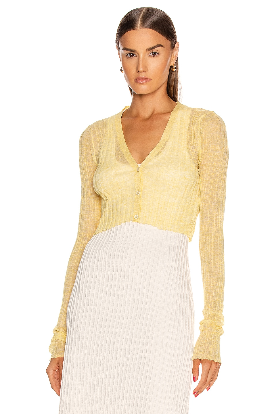 Image 1 of Jil Sander Cardigan Top in Light Pastel Yellow