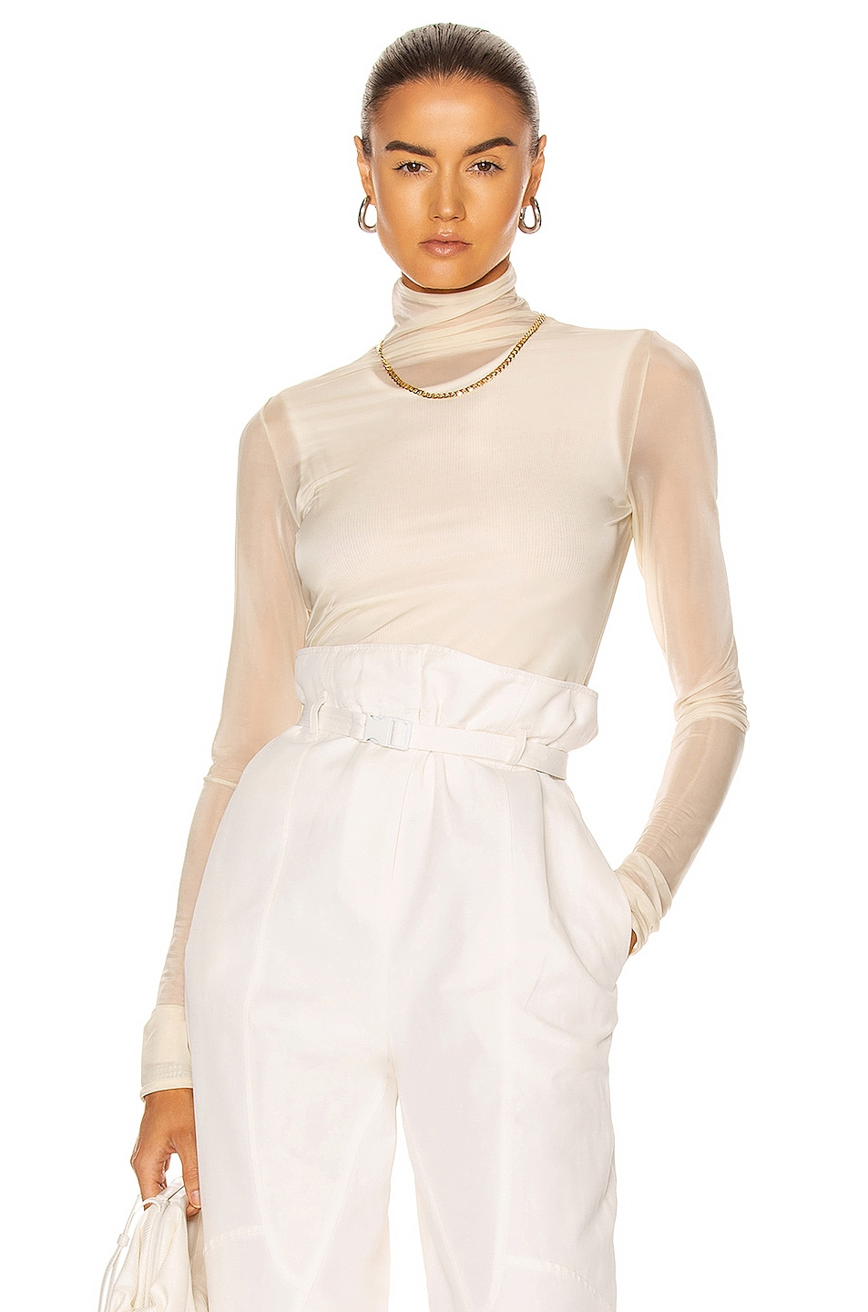 Image 1 of Jil Sander High Neck Long Sleeve Top in Light Pastel Yellow