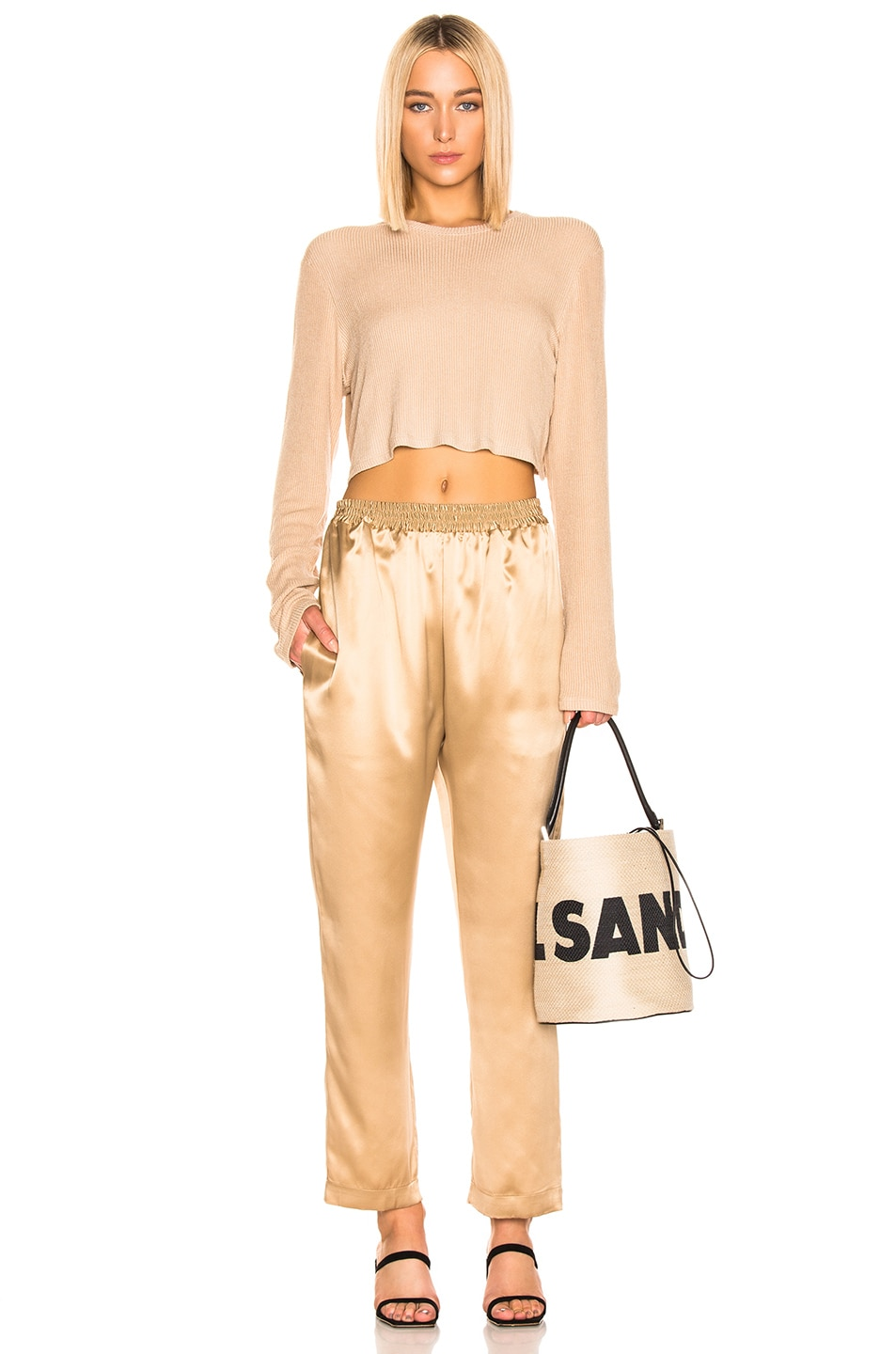 Image 2 of Jil Sander Logo Drawstring Bag in Natural