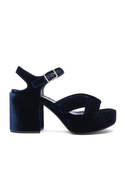 Image 1 of Jil Sander Velvet Heels in Blu Notte