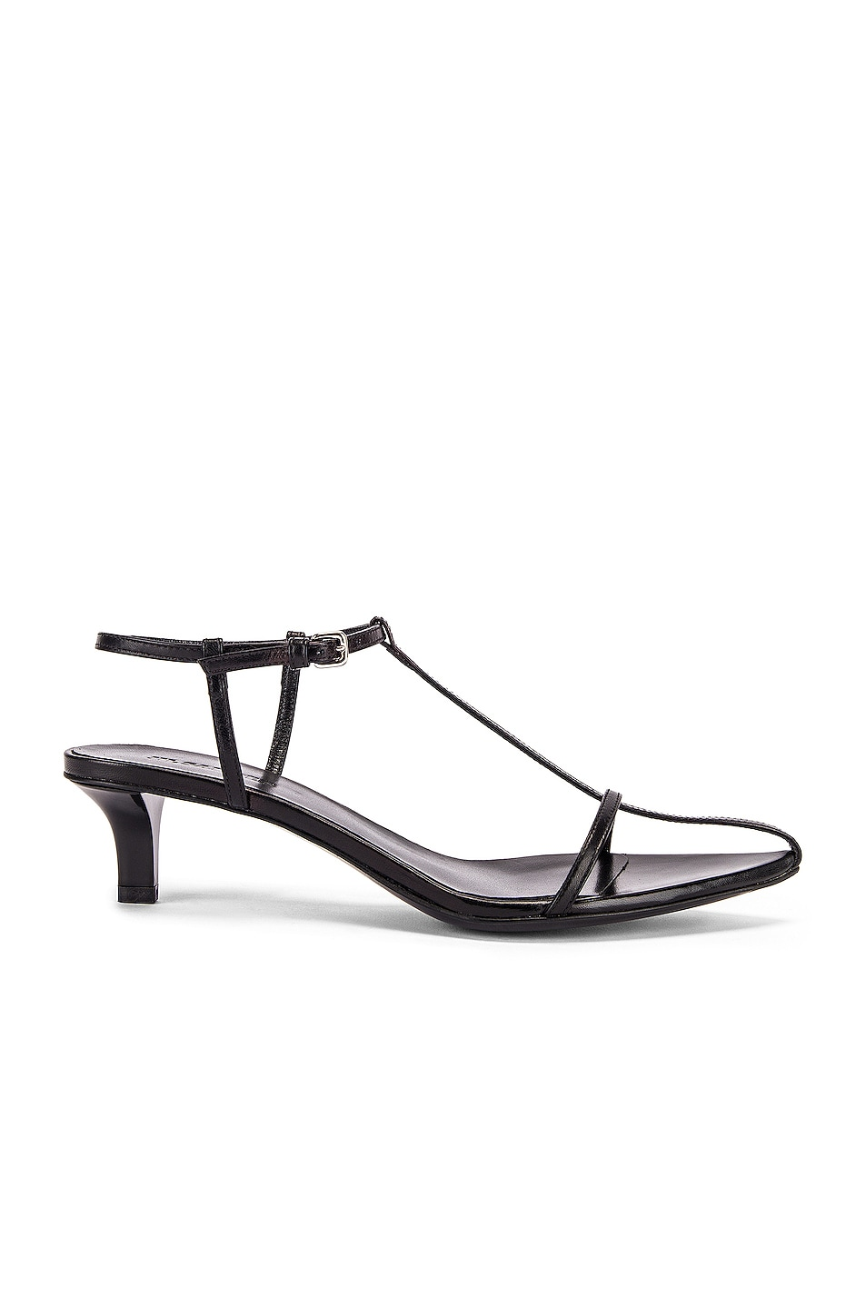 Image 1 of Jil Sander Leather Kitten Heel Sandals in Black