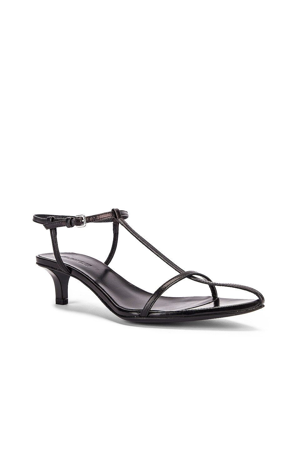 Image 2 of Jil Sander Leather Kitten Heel Sandals in Black