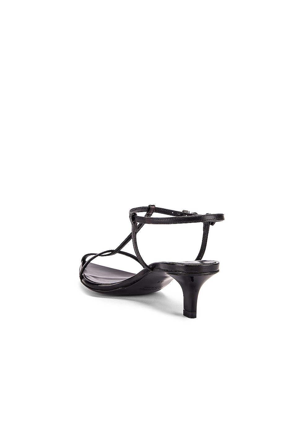 Image 3 of Jil Sander Leather Kitten Heel Sandals in Black