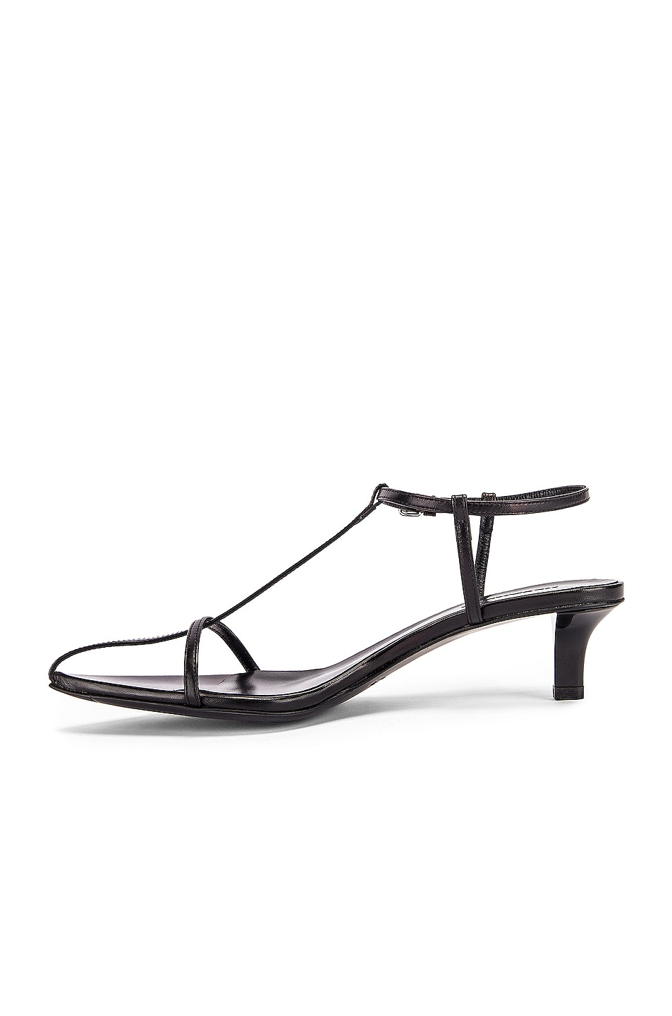 Image 5 of Jil Sander Leather Kitten Heel Sandals in Black