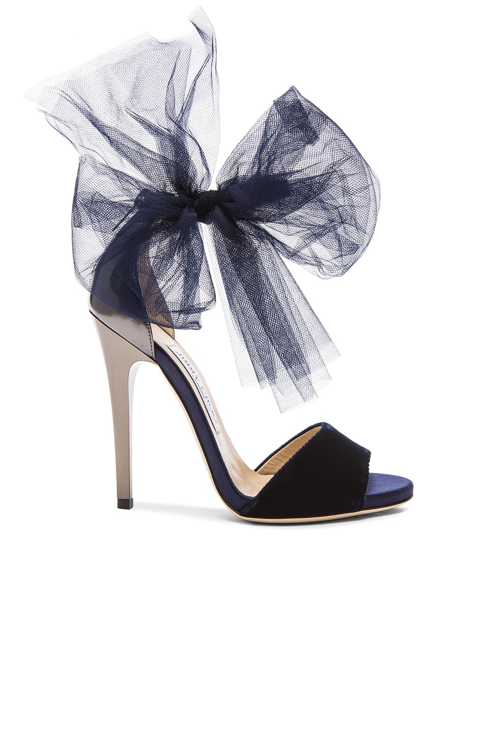 Image 1 of Jimmy Choo Lilyth Satin and Velvet Heels in Anthracite & Navy