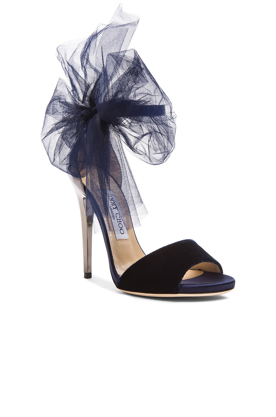 Image 2 of Jimmy Choo Lilyth Satin and Velvet Heels in Anthracite & Navy