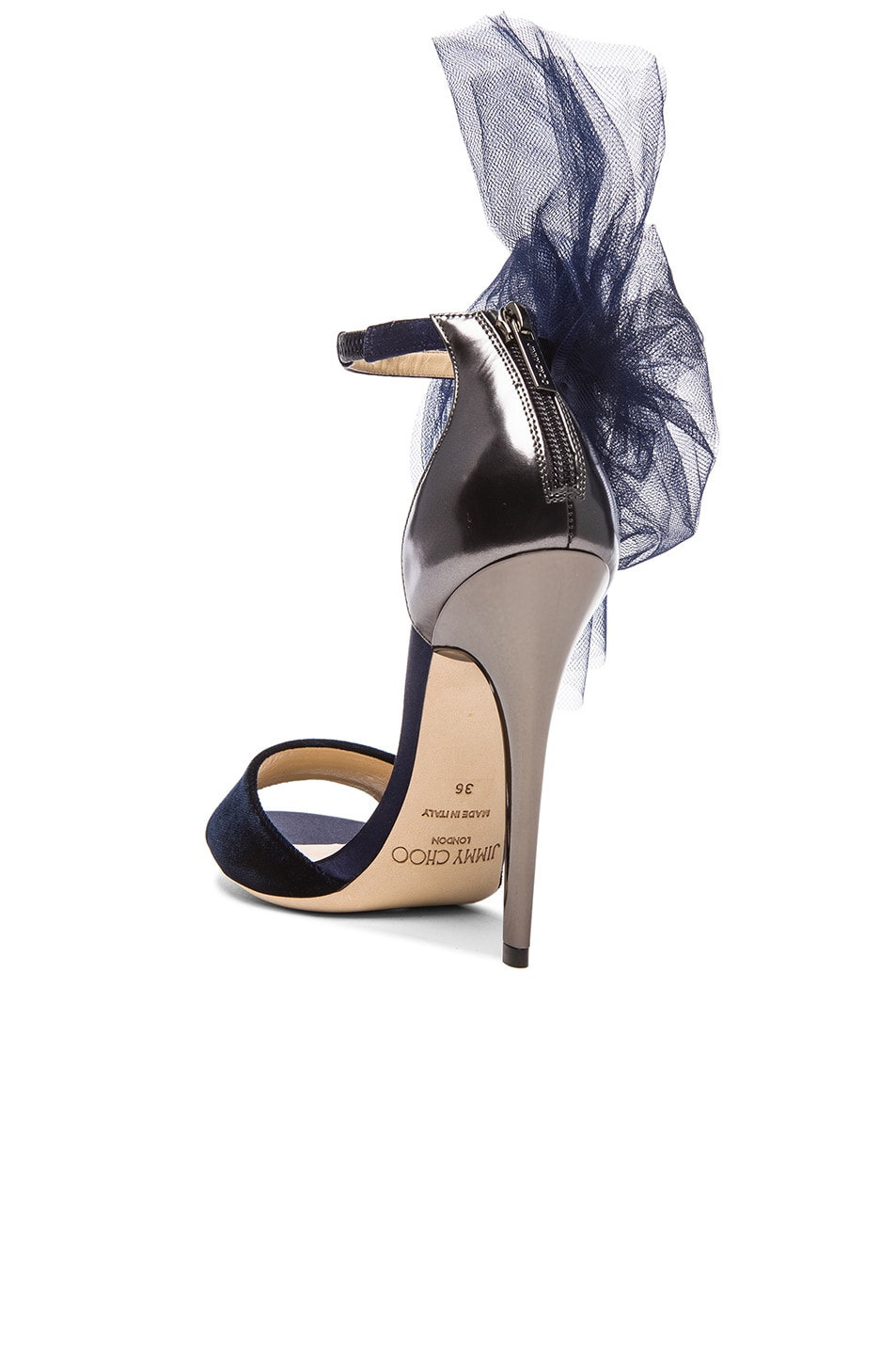 Image 3 of Jimmy Choo Lilyth Satin and Velvet Heels in Anthracite & Navy