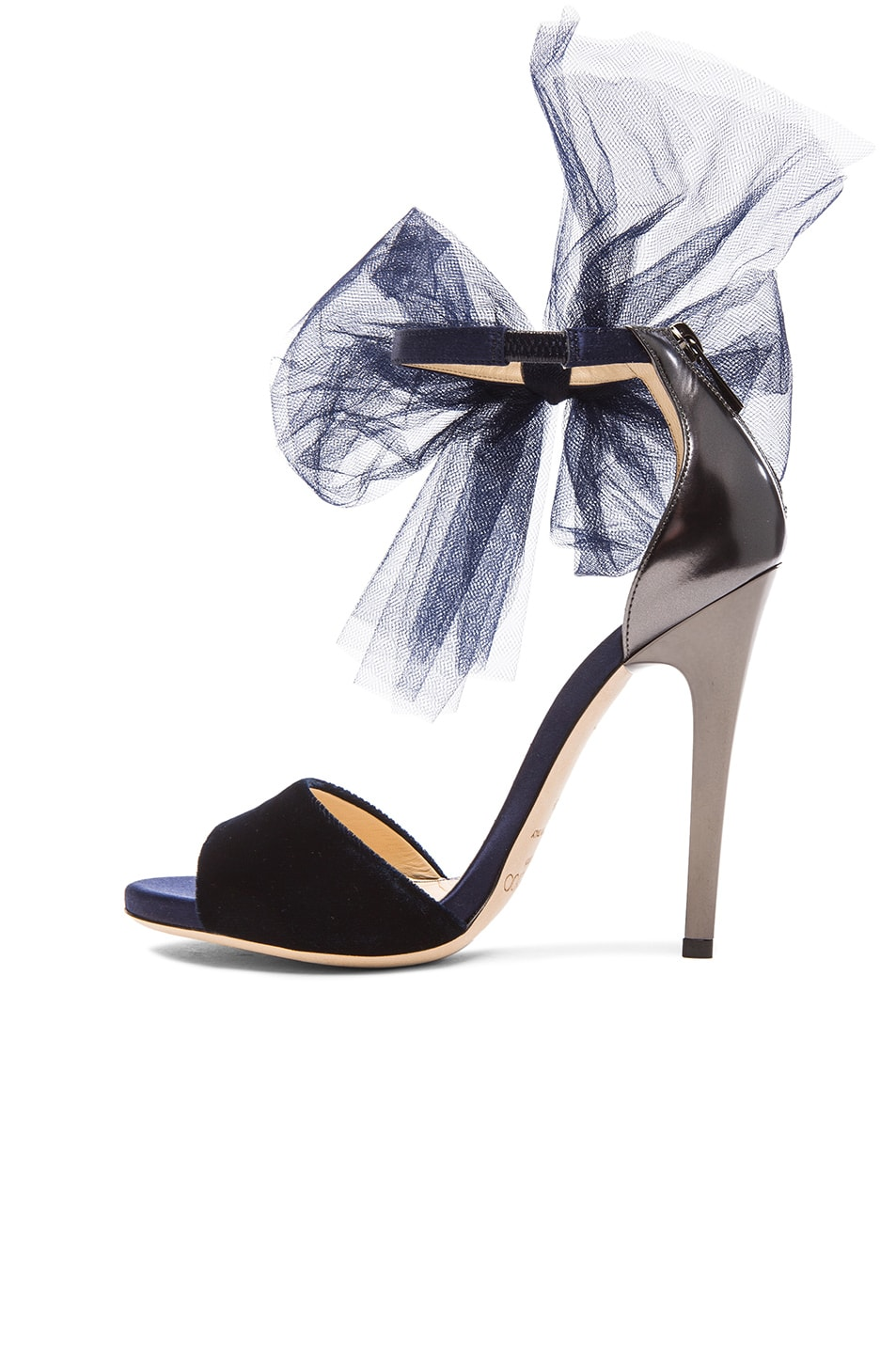 Image 5 of Jimmy Choo Lilyth Satin and Velvet Heels in Anthracite & Navy