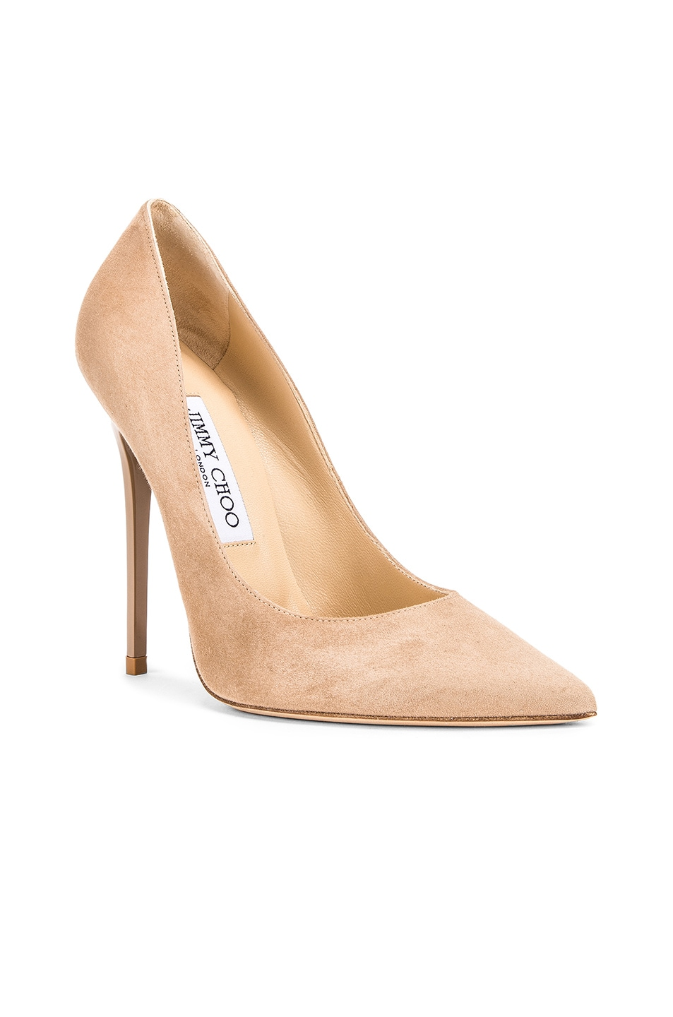 Image 2 of Jimmy Choo Anouk 120 Suede Pumps in Nude