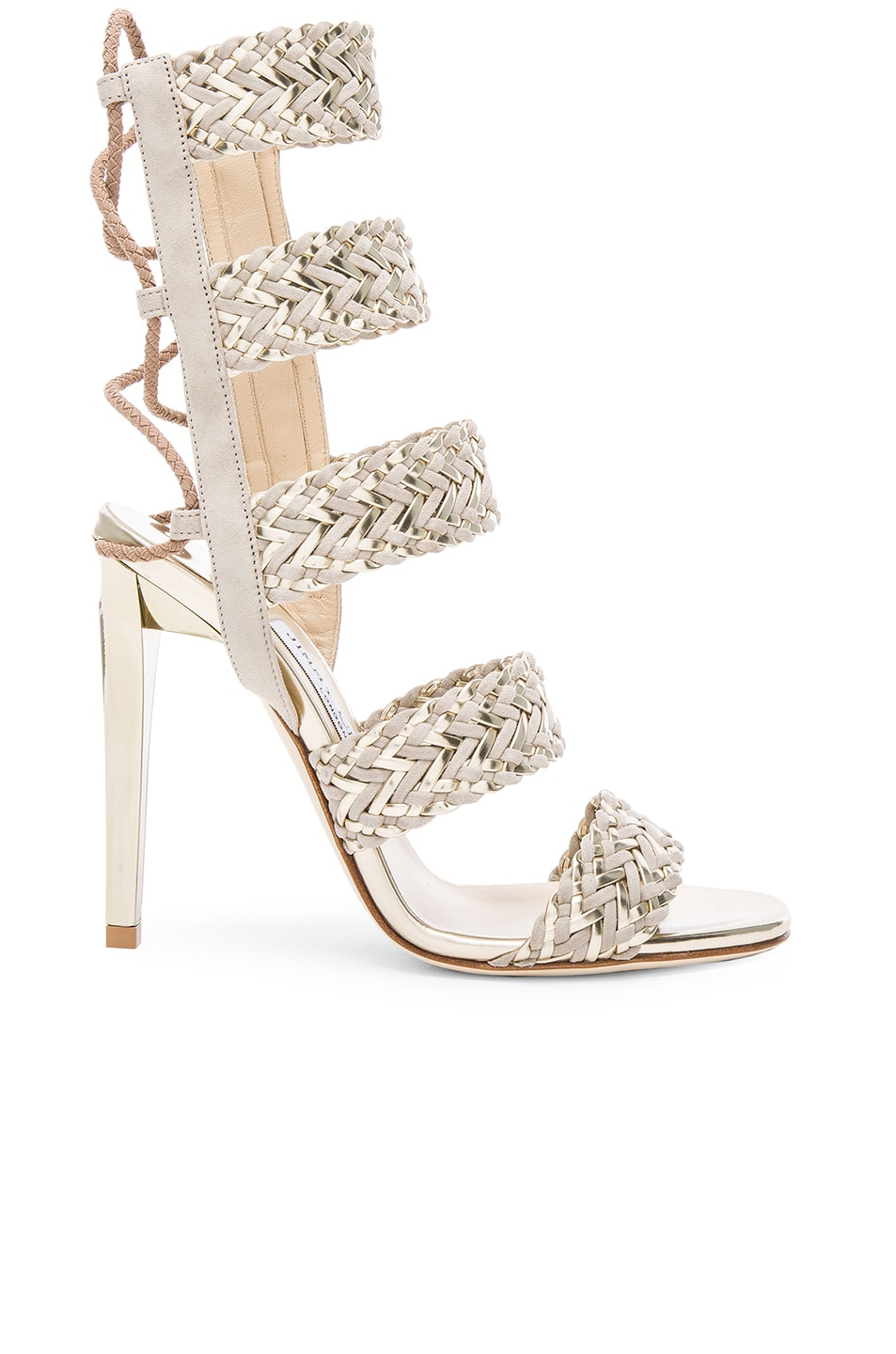 Image 1 of Jimmy Choo Suede Lima Heels in Marble & Light Champagne