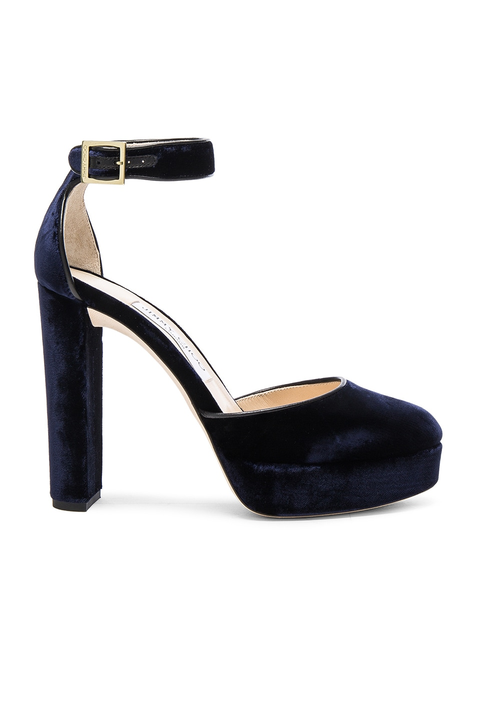 0c7d170acacb Image 1 of Jimmy Choo Velvet Daphne Heels in Navy