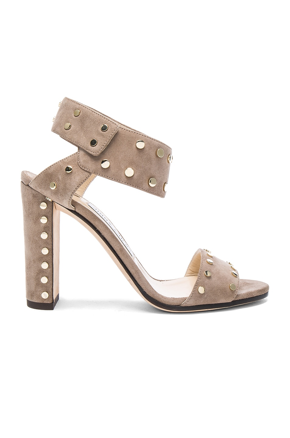 Image 1 of Jimmy Choo Veto Heel in Light Mocha & Gold