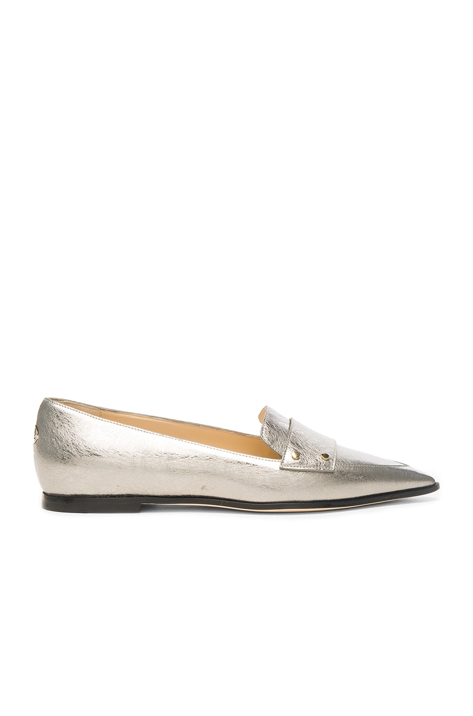 Image 1 of Jimmy Choo Leather Gia Flats in Vintage Silver