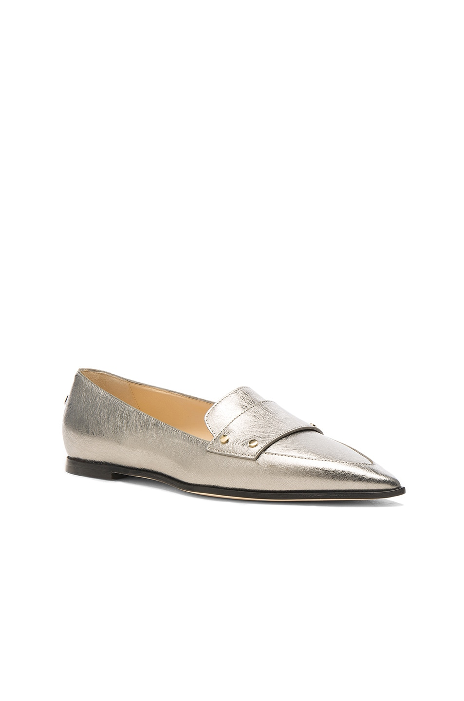 Image 2 of Jimmy Choo Leather Gia Flats in Vintage Silver