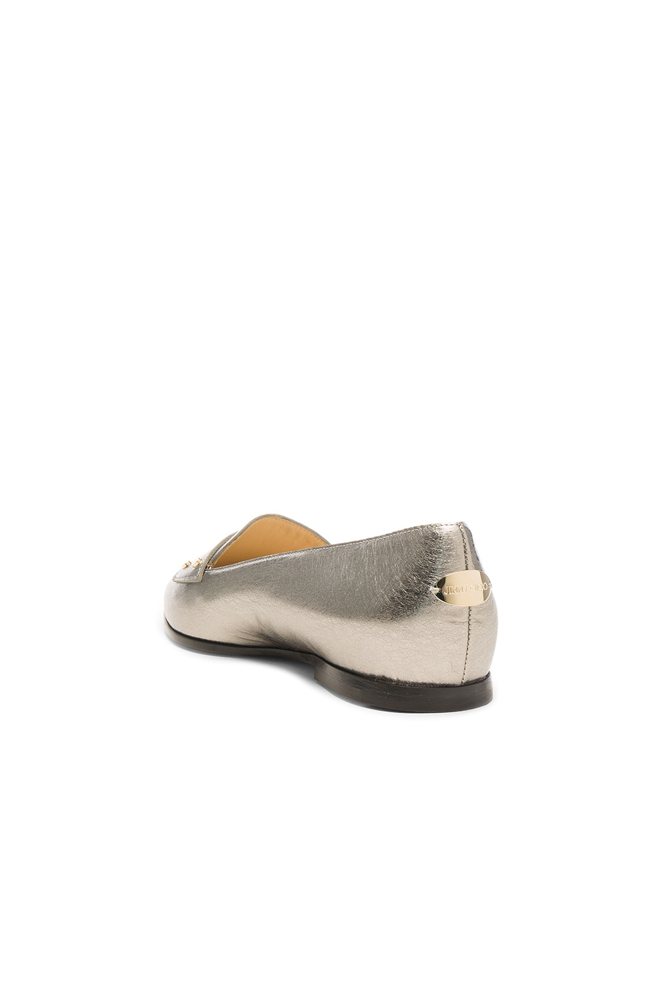 Image 3 of Jimmy Choo Leather Gia Flats in Vintage Silver