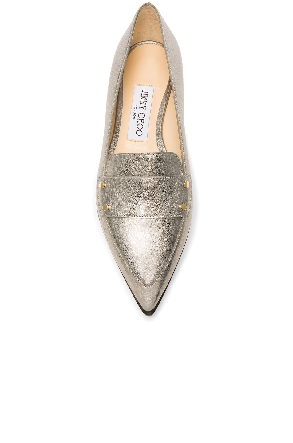 Image 4 of Jimmy Choo Leather Gia Flats in Vintage Silver