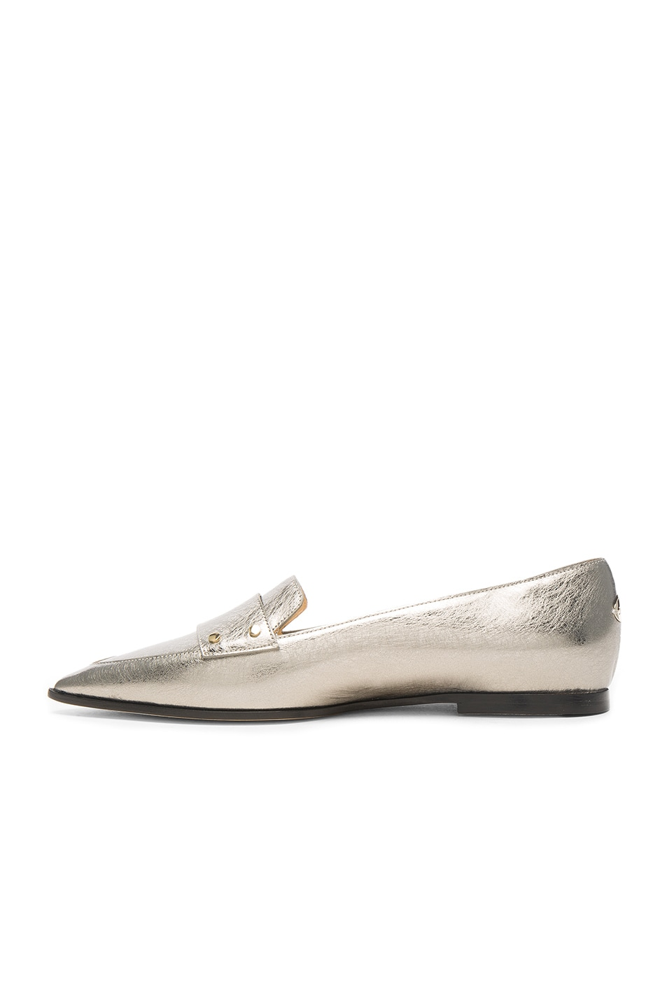 Image 5 of Jimmy Choo Leather Gia Flats in Vintage Silver
