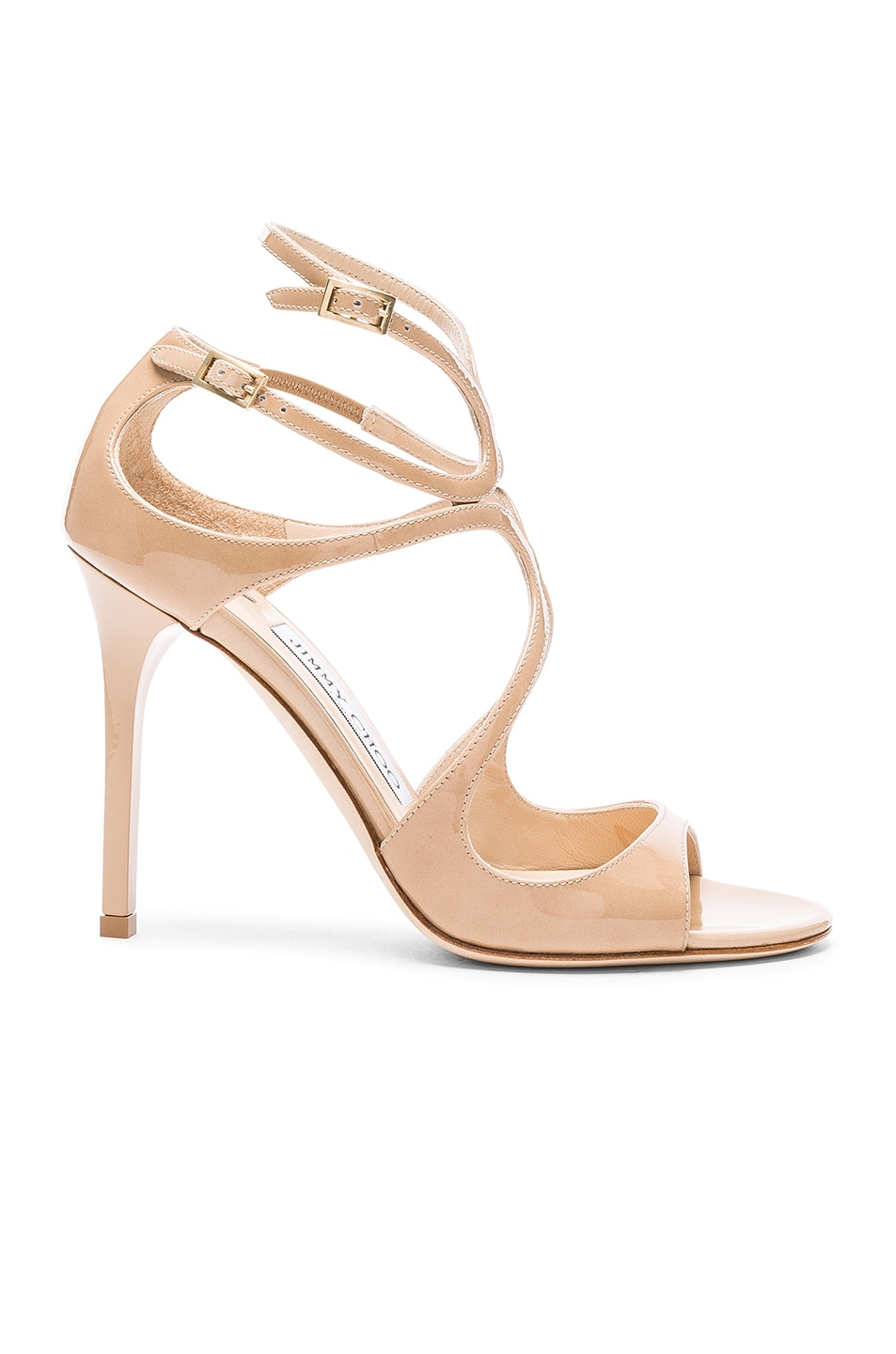 Image 1 of Jimmy Choo Lang 100 Patent Heels in Nude