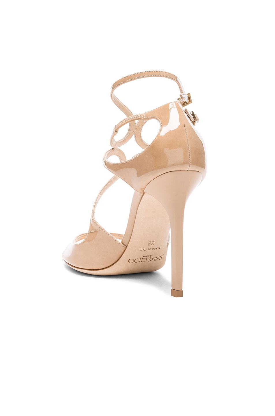 Image 3 of Jimmy Choo Patent Leather Lang Heels in Nude