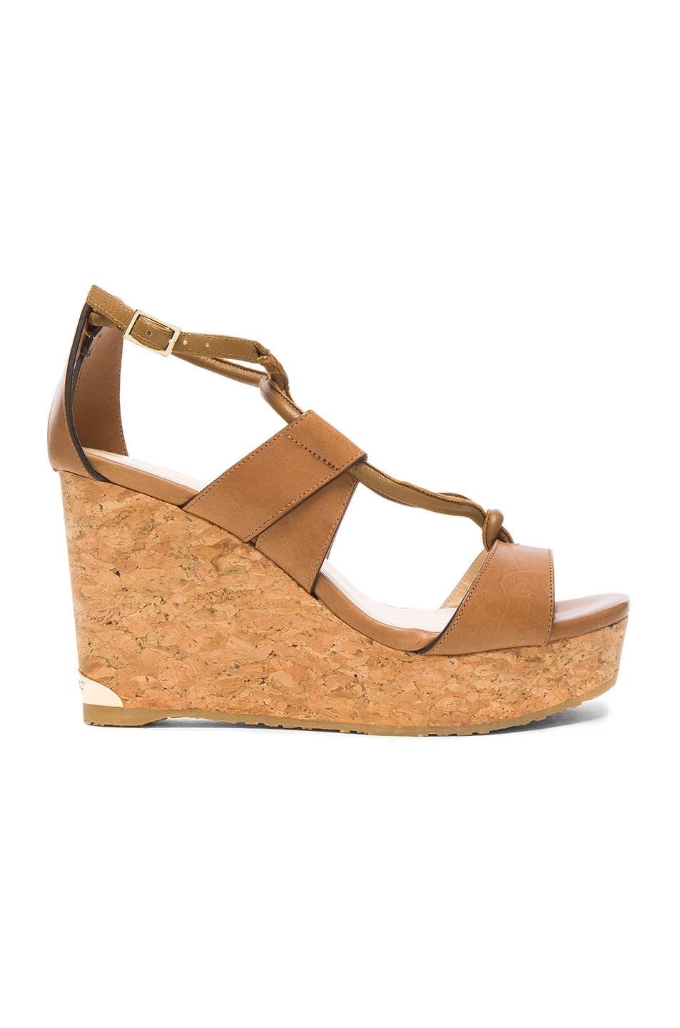 Image 1 of Jimmy Choo Leather Nelson Wedges in Tan