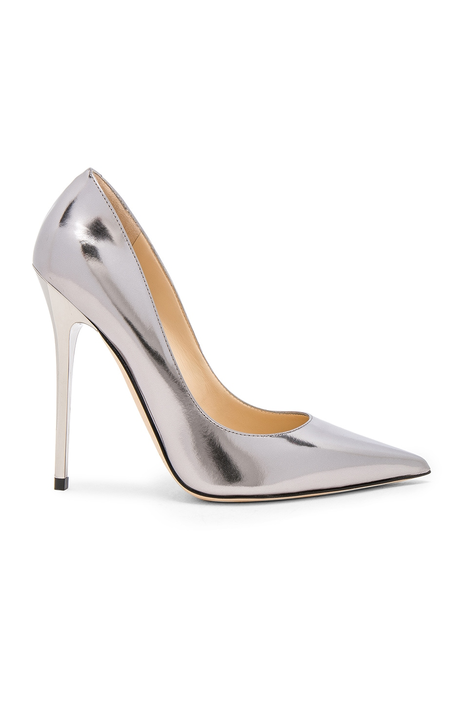 Image 1 of Jimmy Choo Mirror Leather Anouk Heels in Steel
