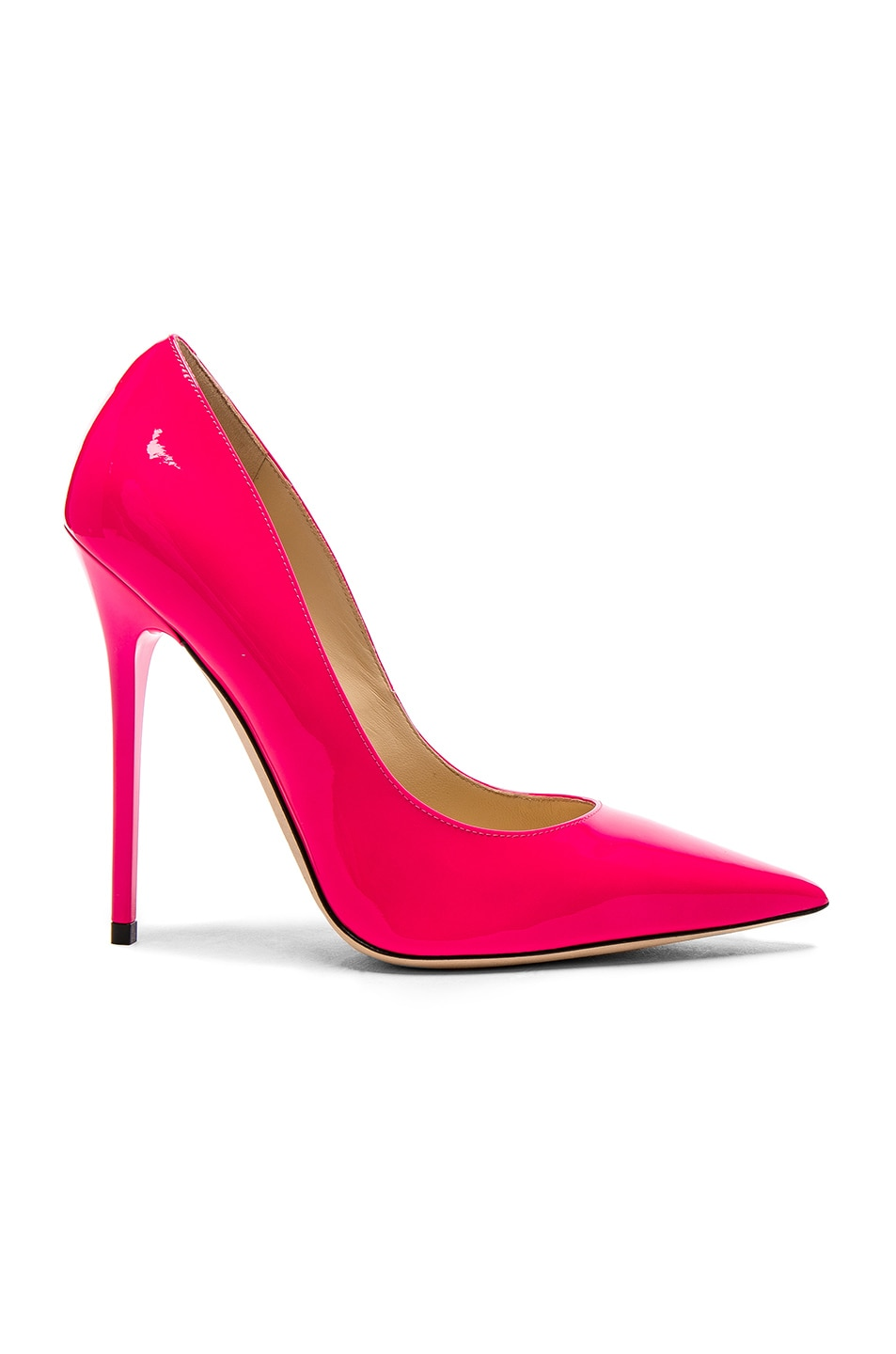 Image 1 of Jimmy Choo Neon Patent Leather Anouk  Heels in Shocking Pink