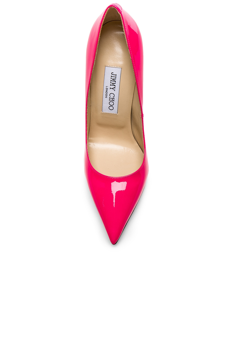1222234d0c0 Jimmy Choo Neon Patent Leather Anouk Heels in Shocking Pink | FWRD