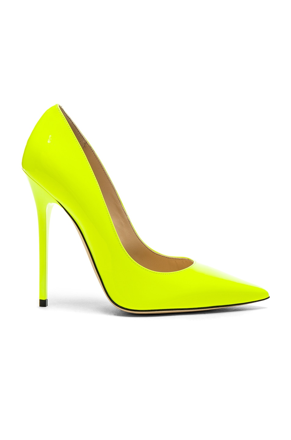 d7676d2ae0b Image 1 of Jimmy Choo Neon Patent Leather Anouk Heels in Shocking Yellow …