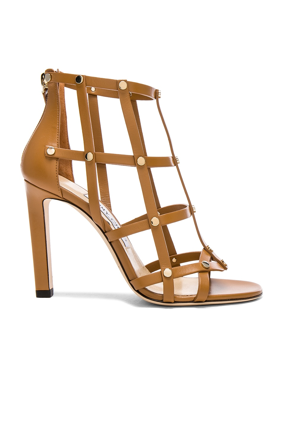 Image 1 of Jimmy Choo Leather Tina Sandals with Studs in Cuoio & Light Gold