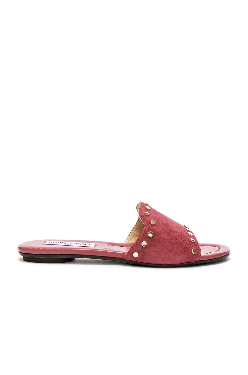 Image 1 of Jimmy Choo Suede Nanda Flats with Studs in Vintage Rose & Gold