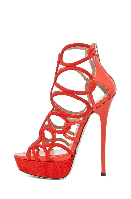 Image 1 of Jimmy Choo Brazil Suede Platform Sandal in Tangerine