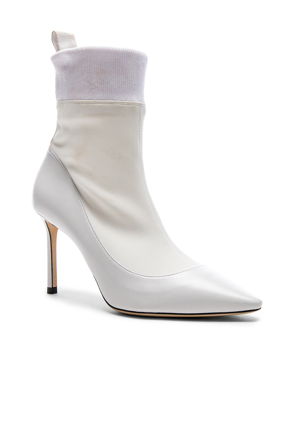 Image 2 of Jimmy Choo Brandon 85 Leather Boots in White