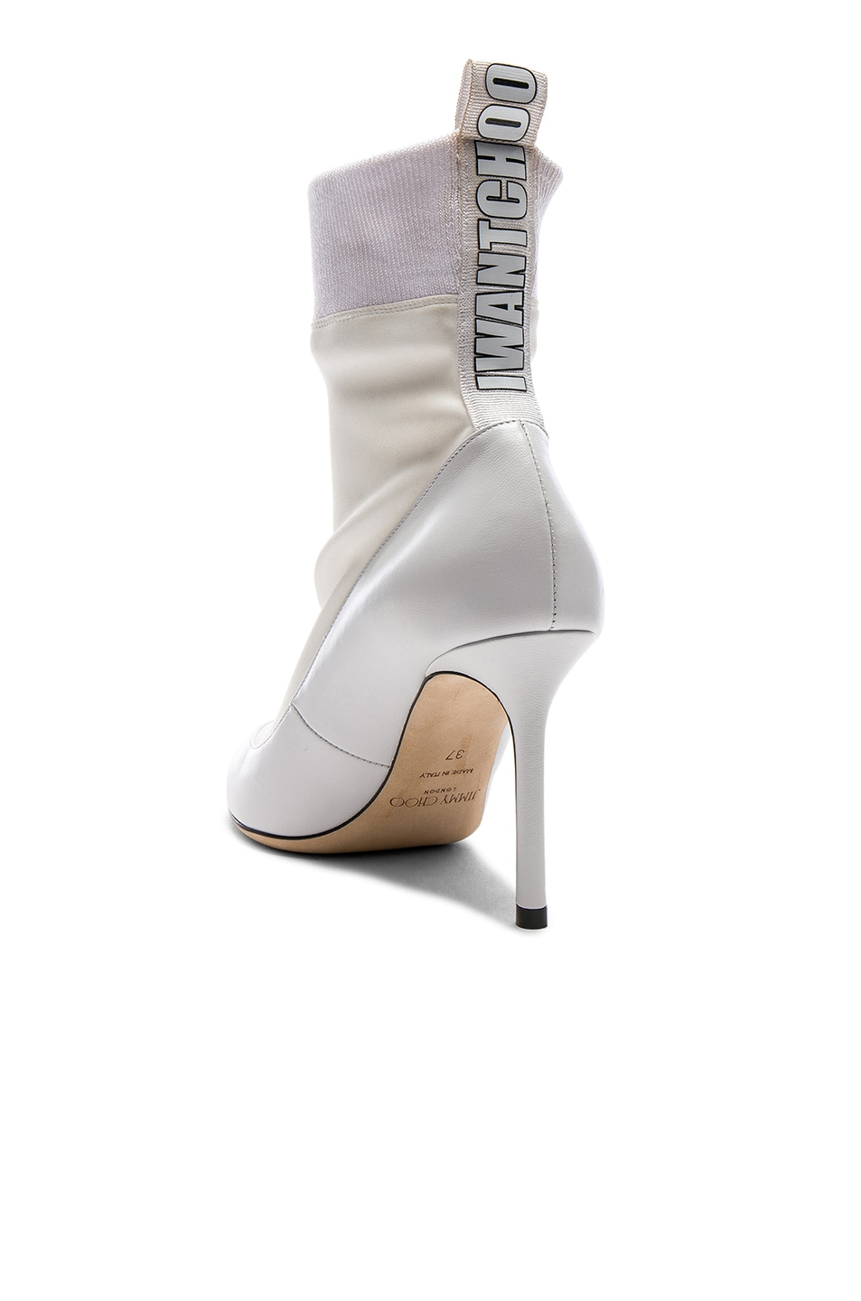 Image 3 of Jimmy Choo Brandon 85 Leather Boots in White