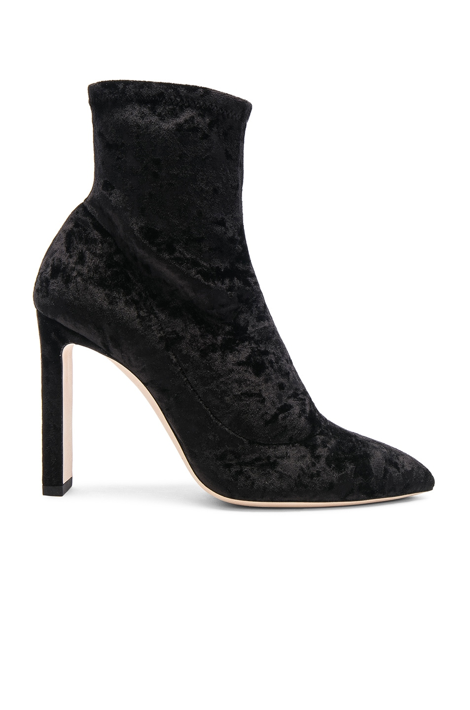 Image 1 of Jimmy Choo Louella 100 Crushed Velvet Boots in Black