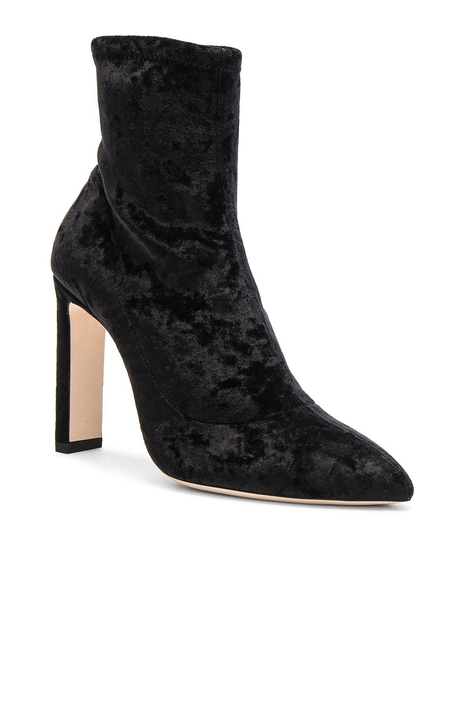 Image 2 of Jimmy Choo Louella 100 Crushed Velvet Boots in Black