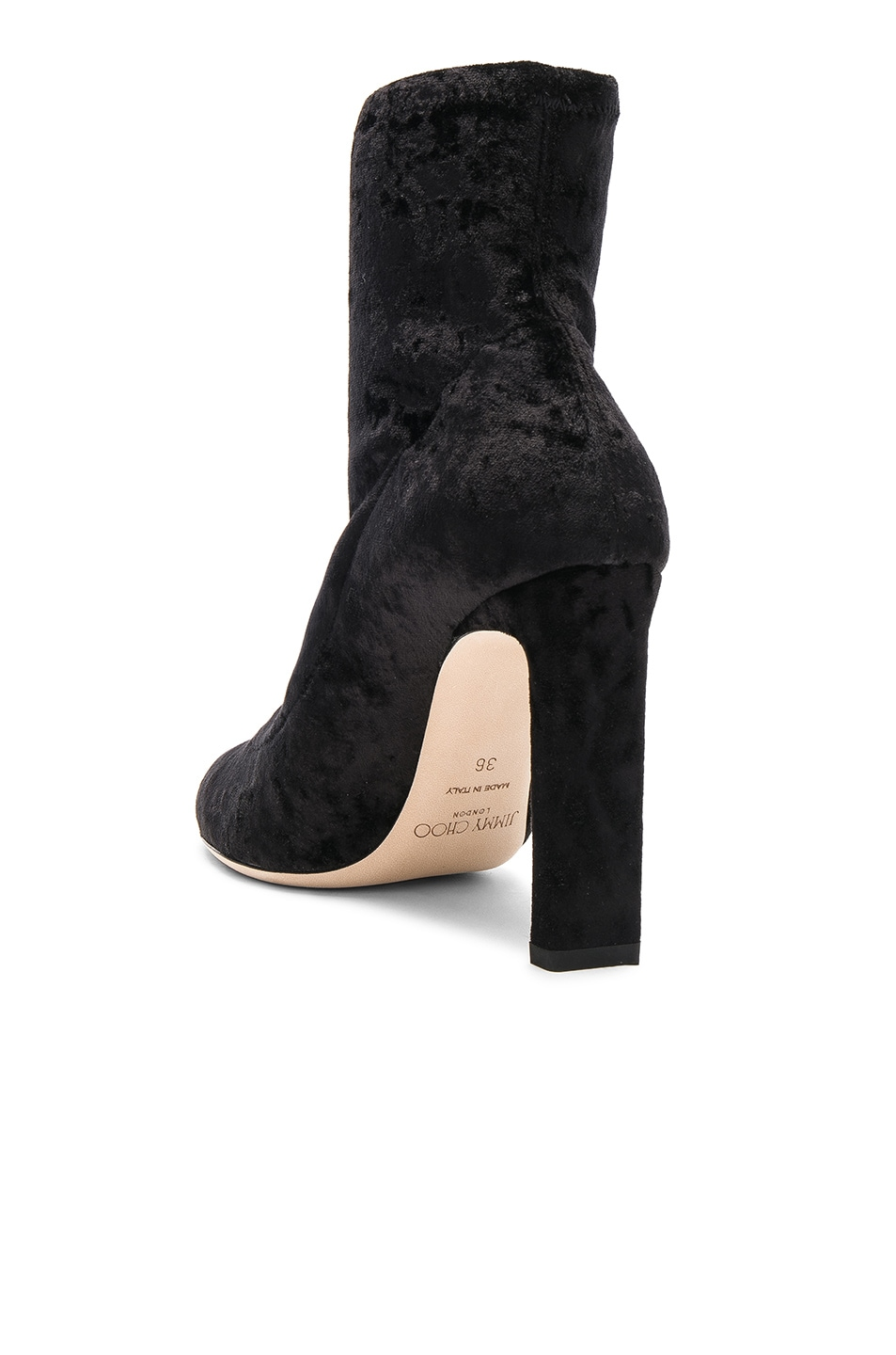 Image 3 of Jimmy Choo Louella 100 Crushed Velvet Boots in Black