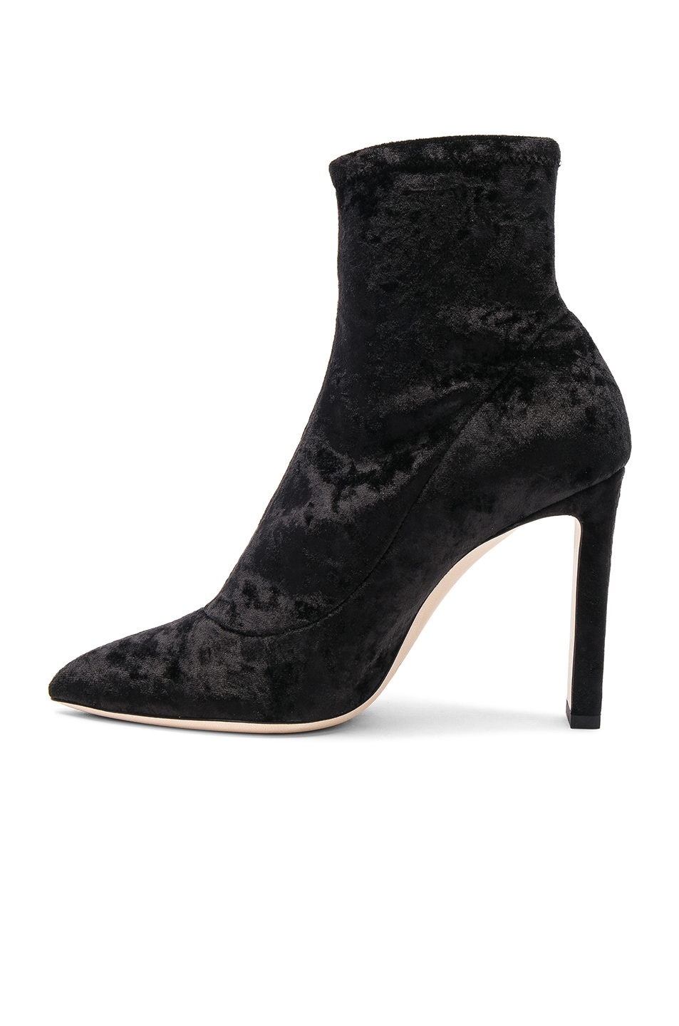 Image 5 of Jimmy Choo Louella 100 Crushed Velvet Boots in Black