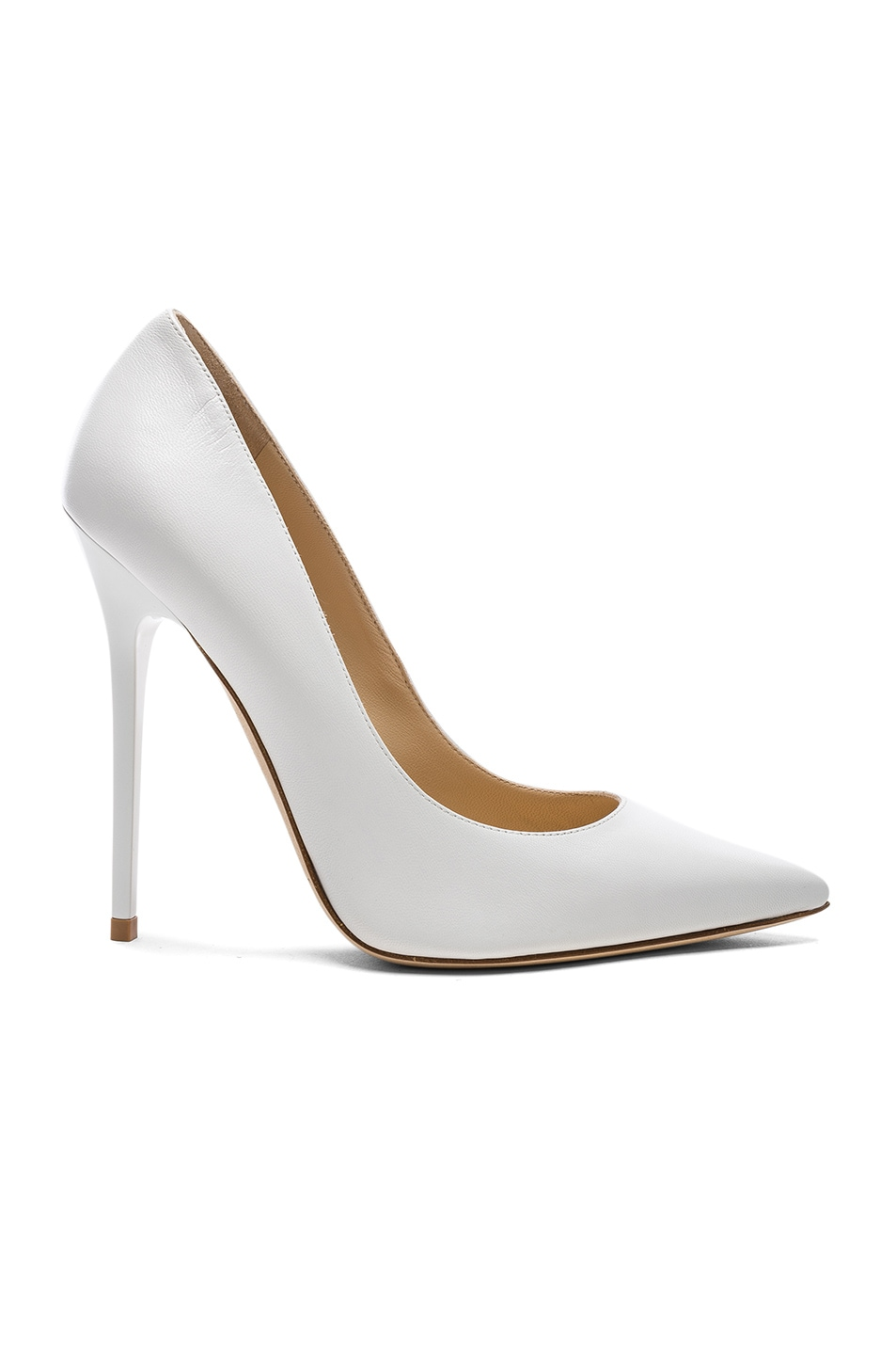 Image 1 of Jimmy Choo Leather Anouk Heels in Optic White
